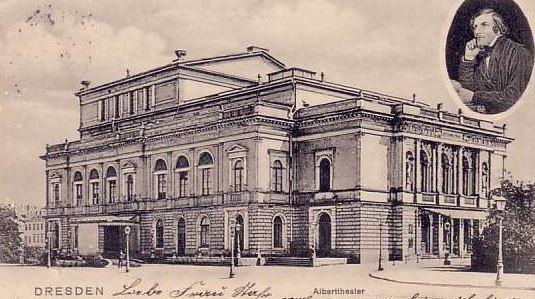Historische Postkarte des Dresdner Albert-Theaters