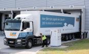 Der Mitarbeiter einer Spedition lädt eine vollelektrische 40-Tonnen-Sattelzugmaschine am 15.06.2017 an der Ladesäule an einer Laderampe auf Werksgelände von Porsche in Leipzig (Sachsen). Foto: Jan Woitas
