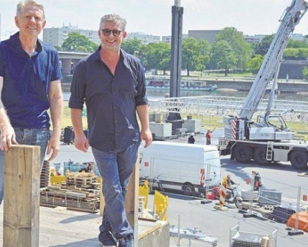 Johannes Vittinghoff (links) und Matthias Pfitzner im Areal der Filmnächte. Foto: Wolf