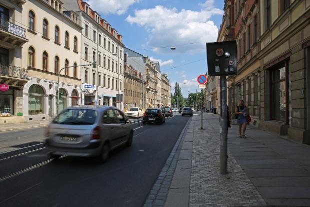 An der Bautzner Straße/Ecke Löwenstraße blitzte der Kasten 194 mal. Foto: Thomas Thürpe