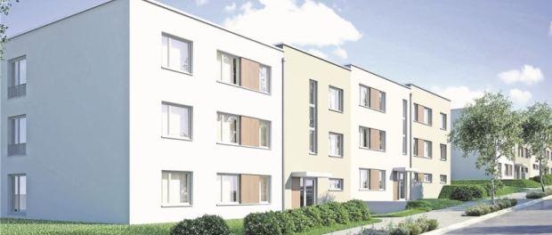 Für künftige Sozialwohnungen gibt es längst konkrete Pläne. 2018 könnten die Bauarbeiten für Mehrfamilienhäuser am Nickerner Weg starten. Visualisierung: Stesad
